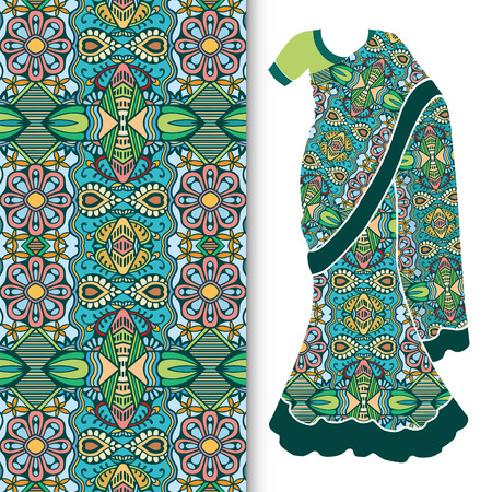 Decorative stylized Indian sari womens ethnic dress with seamless ornamental pattern.