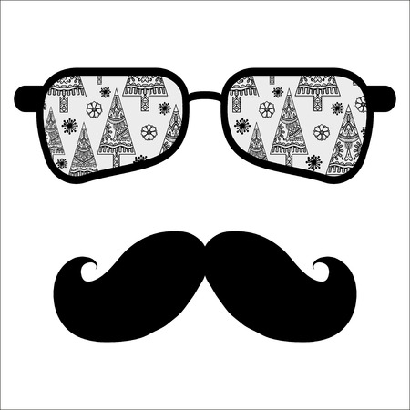 cool guy: Retro hipster sunglasses, print for t-shirt, card design elements, black and white.