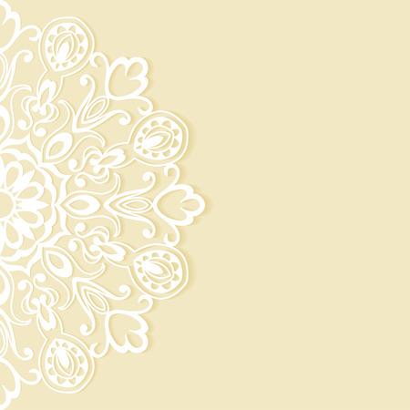 Invitación de la boda o el diseño de tarjetas de felicitación con patrón de encaje, ilustración vectorial ornamentales. Foto de archivo - 41260312