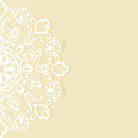 Wedding invitation or greeting card design with lace pattern, ornamental vector illustration.