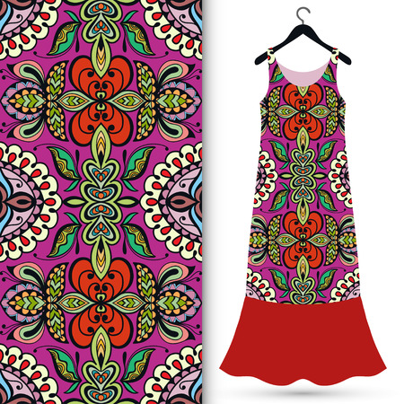 indian summer: Fashion seamless geometric pattern, womens dress on a hanger, invitation card design