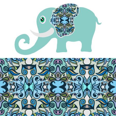 Cartoon olifant met tribal etnische ornament geometrische naadloos patroon. Stock Illustratie