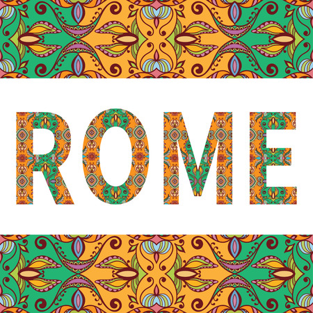 arabic frame: Rome sign with tribal ethnic ornament. Decorative arabic frame border pattern. Vector background or card design.