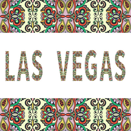 las vegas sign: Las Vegas sign with tribal ethnic ornament. Decorative frame border pattern. Vector background or card design.