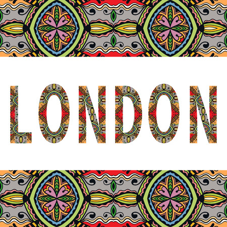 arabic frame: London sign with tribal ethnic ornament. Decorative arabic frame border pattern. Vector background or card design.