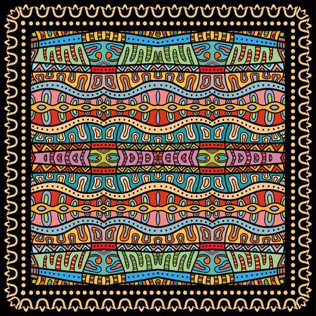 Bandana Print, silk neck scarf or kerchief square pattern design style for print on fabric, vector illustration.  イラスト・ベクター素材