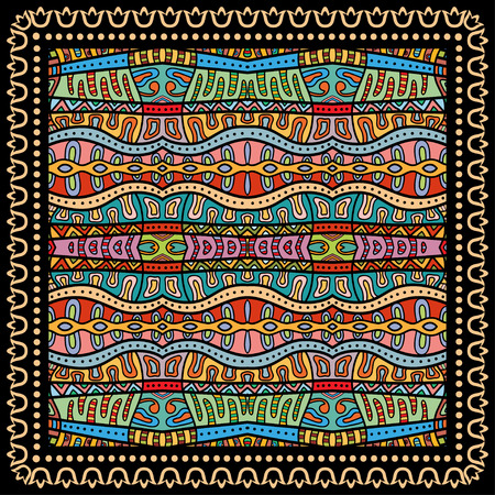 Bandana Print, silk neck scarf or kerchief square pattern design style for print on fabric, vector illustration. 矢量图像