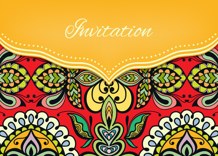 Invitation or wedding card with ornate background, tribal ethnic lace pattern, vector illustration. Ilustracja