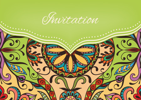 indian wedding: Invitation or wedding card with ornate background, tribal ethnic lace pattern, vector illustration. Illustration