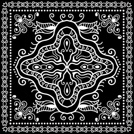 neck scarf: Black Bandana Print, silk neck scarf or kerchief square pattern design style for print on fabric, vector illustration.