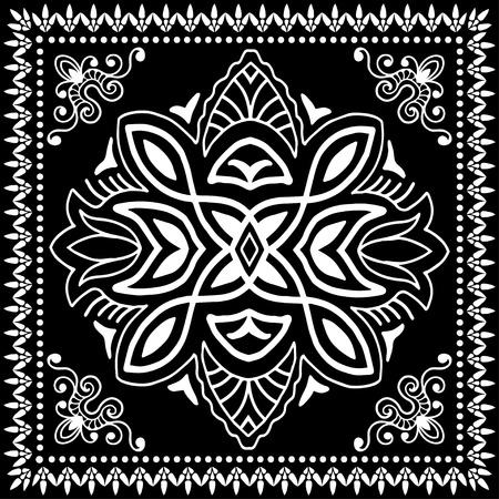 bandana: Black Bandana Print, silk neck scarf or kerchief square pattern design style for print on fabric, vector illustration.