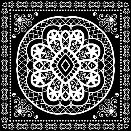 hanky: Black Bandana Print, silk neck scarf or kerchief square pattern design style for print on fabric, vector illustration.
