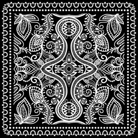 Black Bandana Print, silk neck scarf or kerchief square pattern design style for print on fabric, vector illustration.