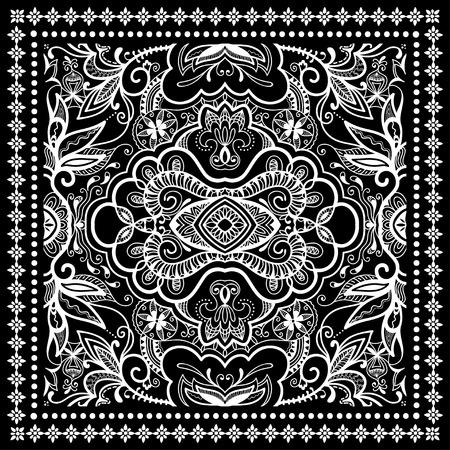 trendy tissue: Black Bandana Print, silk neck scarf or kerchief square pattern design style for print on fabric, vector illustration.