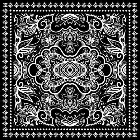 Black Bandana Print, zijden sjaal of hoofddoek vierkant patroon ontwerp stijl voor print op doek, vector illustratie.