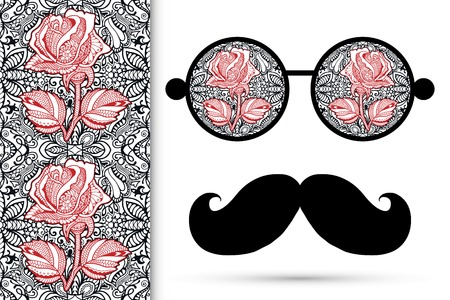mustaches: Retro hipster sunglasses with floral rose ornament and mustaches, seamless lace pattern