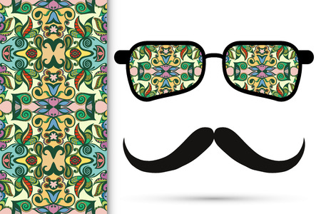mustaches: Retro hipster sunglasses with ornament and mustaches, seamless floral geometric pattern Illustration