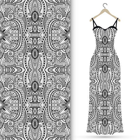 Fashion illustration, womens dress on a hanger with seamless geometric lace pattern, invitation card design