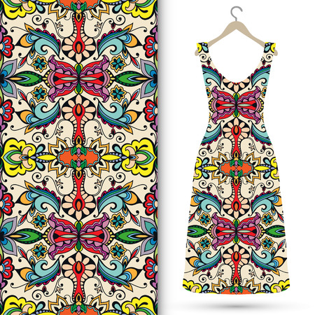 trendy girl: Seamless floral geometric pattern, womens dress on a hanger. Tribal ethnic ornament fabric texture. Illustration