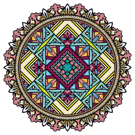 Mandala, decorative round tribal ethnic ornament, vector islamic arabic indian pattern