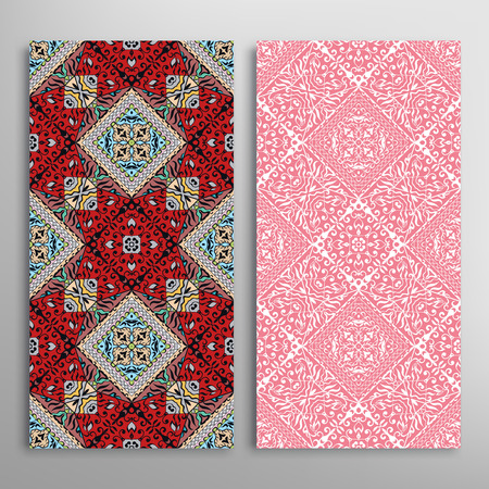 chinese flower: Vector seamless vertical patterns set with hand drawn repeating texture for Fabric print, Invitations or Cards.
