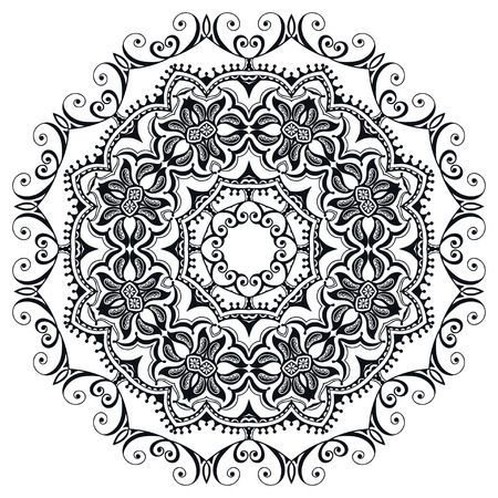Mandala round ornament, tribal ethnic islamic arabic indian motif. Hand drawn black and white pattern. Ilustrace