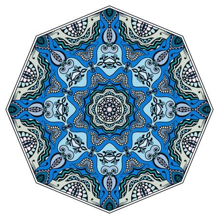 Mandala rond ornament, tribal etnische Arabische Indische stijl, achtpuntig cirkel abstract bloemenpatroon