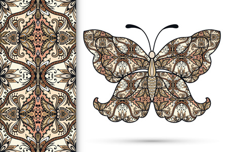 butterfly in hand: Vector seamless vertical pattern with Decorative ornate butterfly, hand drawn texture for invitation or card design.