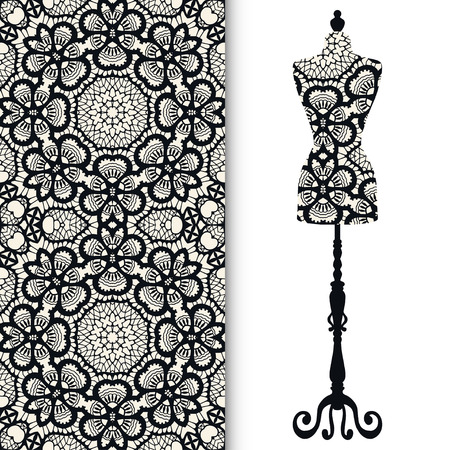 display size: Vector seamless geometric pattern with vintage tailors dummy for female body, invitation card design