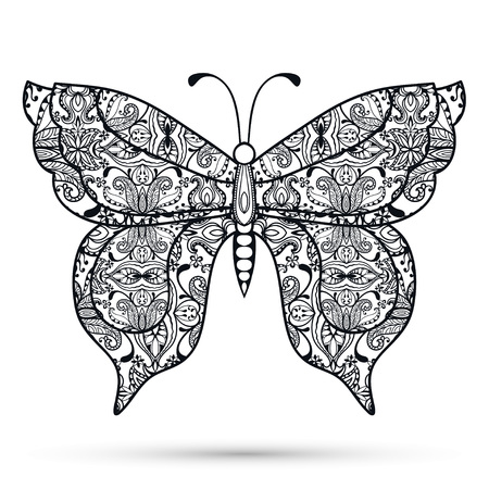 butterfly in hand: Black and white Decorative butterfly, hand drawn sketch texture for invitation or card design. Vector illustration. Illustration