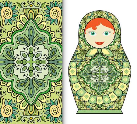 Poupée russe souvenir de jouet amusant et transparente motif floral géométrique. Les éléments décoratifs de carte ou invitation, tissu ou de papier d'impression. Hand drawn illustration vectorielle.