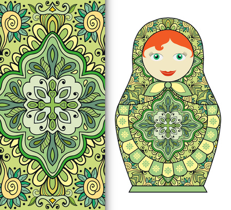 souvenir: Russian doll fun toy souvenir and seamless geometric floral pattern. Decorative elements for card or invitation, fabric or paper print. Hand drawn vector illustration.
