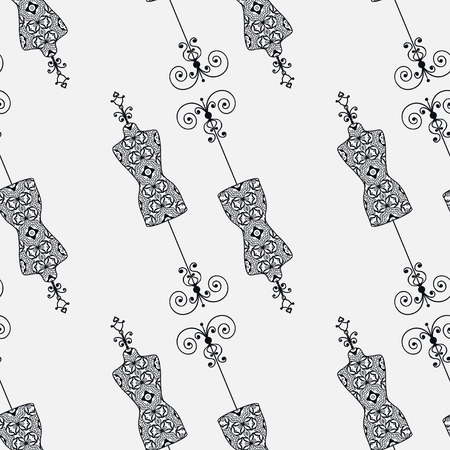 vintage fashion: Vector fashion illustration, seamless pattern with vintage tailors dummy for female body, repeating monochrome texture. Black and white background