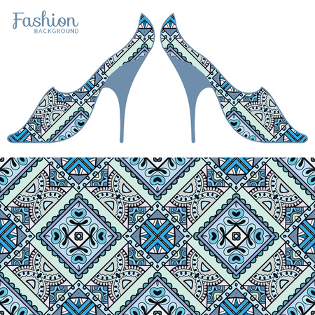 girls feet: Vector fashion illustration, ladies shoes and seamless fabric pattern with repeating floral geometric texture. Hand drawn isolated elements for scrapbook, invitations or cards design. Illustration