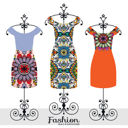 paper hanger: Vector fashion illustration, womens dress collection on a hanger, isolated design elements for Invitations or Cards, fabric or paper prints
