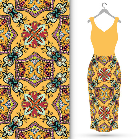 glamour girl: fashion illustration. Womens dress on a hanger and seamless fabric pattern with repeating floral geometric texture.  isolated elements for scrapbook, invitations or cards design. Illustration