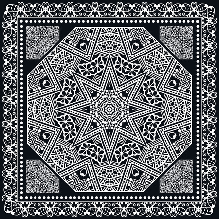 kerchief: Abstract graphic background, square geometric pattern with frame, tribal ethnic ornament. Black bandanna shawl fabric print, silk neck scarf or kerchief design, illustration. Illustration