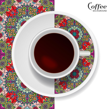 downtime: Cup of coffee with colorful ornament on a saucer and vertical seamless floral geometric pattern. Business coffee break concept, interior design background. Isolated coffee cup and plate decor elements Illustration
