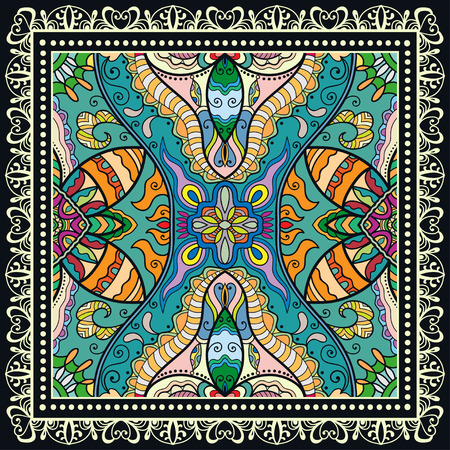 Decorative abstract colorful background, geometric floral doodle pattern with ornate lace frame Иллюстрация