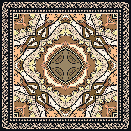 voile: Decorative abstract colorful background, geometric floral doodle pattern with ornate lace frame Illustration