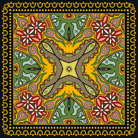 Decorative abstract colorful background, geometric floral doodle pattern with ornate lace frame. Tribal ethnic ornament. Illustration