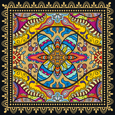 hanky: Decorative abstract colorful background, geometric floral doodle pattern with ornate lace frame. Tribal ethnic ornament. Illustration