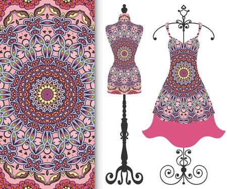 Vektor-Mode-Illustration, Schneider-Dummy für weibliche Körper, Frauen-Kleid auf einem Kleiderbügel und nahtlose floralen geometrischen Muster mit wiederholenden Textur. Isolierte Elemente für Druck, Einladungskarten-Design