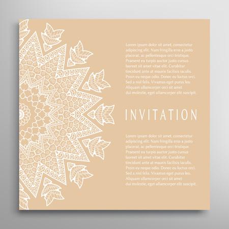 装飾的な抽象的な背景、華やかなレースのカードまたは招待状