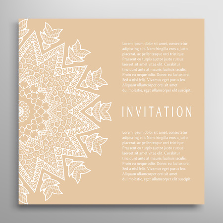 Decorative abstract background, ornate lace card or invitation Иллюстрация