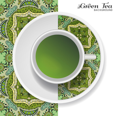 downtime: Cup of green tea with doodle ornament on a saucer and hand drawn seamless geometric floral pattern Illustration