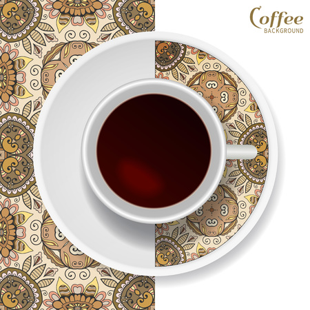 Cup of coffee with colorful ornament on a saucer and vertical seamless floral geometric pattern.