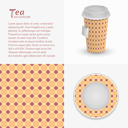 Cup of tea, saucer with ornament and seamless pattern