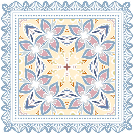 Decorative geometric floral doodle pattern with lace frame.