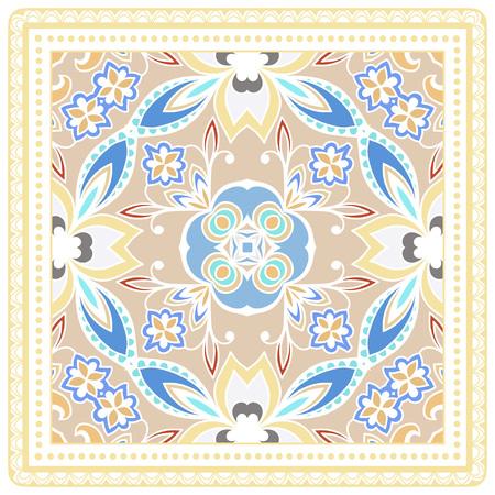 Decoratief geometrisch bloemenkrabbelpatroon met kantkader.